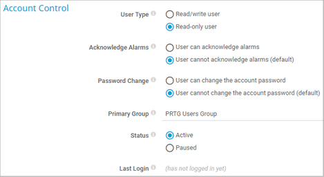 User Access Rights in User Account Settings