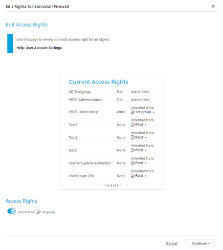 Different Access Rights Depending on User Groups