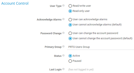 User Rights in User Account Settings