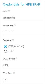 Credentials for HPE 3PAR