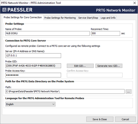 Remote Probe Settings in PRTG Administrator