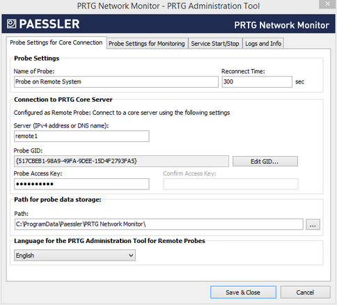 PRTG Administration Tool: Probe Settings for Core Connection