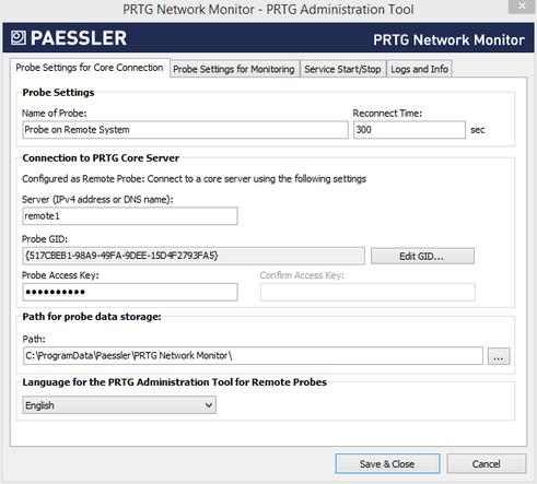Remote Probe Settings in PRTG Administrator