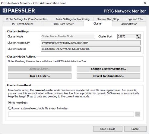 PRTG Administration Tool: Cluster