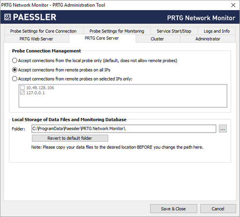 PRTG Administration Tool on Core Server System | PRTG