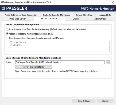PRTG Administration Tool: Core Server