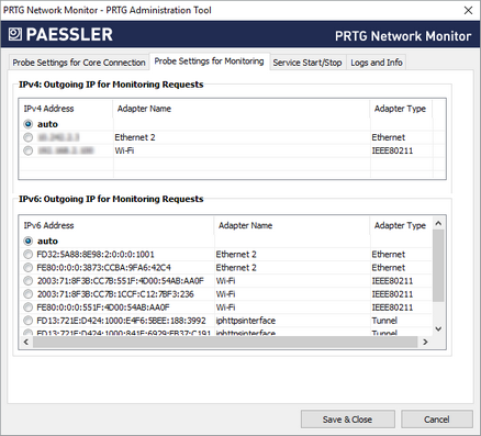 PRTG Administration Tool: Probe Settings for Monitoring