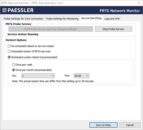 PRTG Administration Tool Start and Stop Service