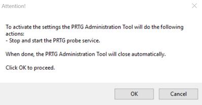 PRTG Administration Tool: Restart Services