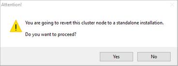 Revert Cluster to Standalone Installation