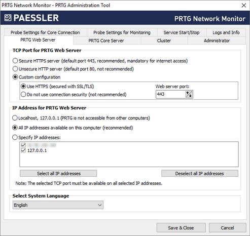 PRTG Web Server Tab