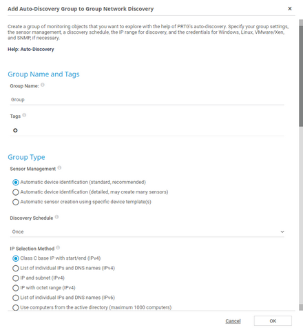 Add Auto-Discovery Group Dialog