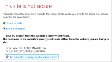 SSL Certificate Warning in Internet Explorer