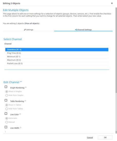 Example of Sensor Channel Settings in Multi-Edit Mode