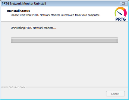 Uninstall PRTG Network Monitor Step 2
