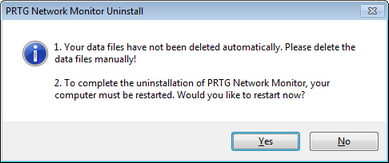Uninstall PRTG Network Monitor Step 3