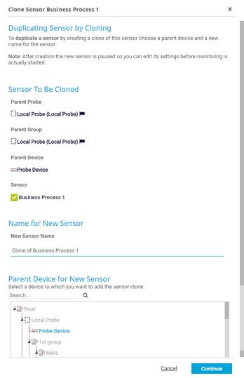 Clone Dialog for a Sensor
