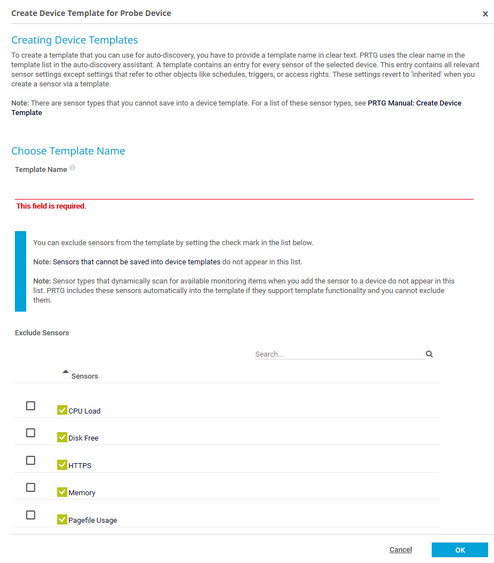 Create Device Template | PRTG Network Monitor User Manual