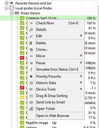 Context Menu of a Device in the Enterprise Console