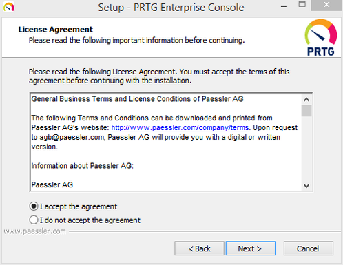 Enterprise Console Setup: License Agreement