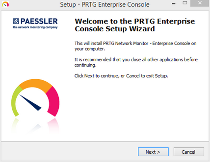 Enterprise Console Setup: Welcome Screen