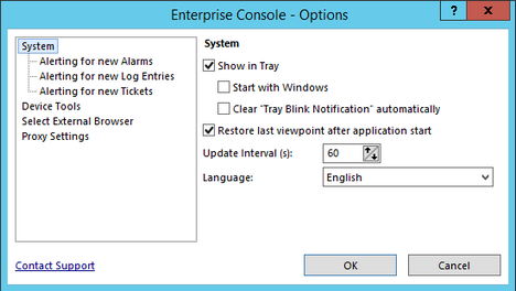 Enterprise Console Options