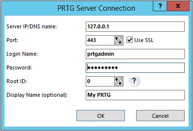 PRTG Server Connection Settings in Enterprise Console
