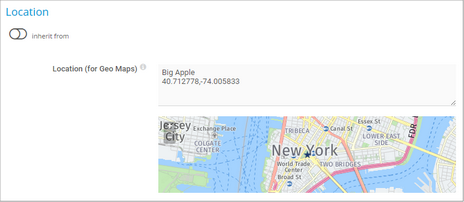 Location New York with Geo Coordinates and Label Big Apple