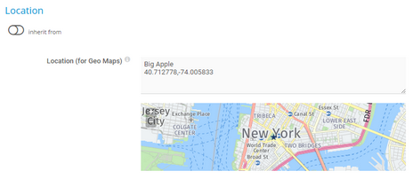 Defining Location New York City with Geo Coordinates and Label Big Apple