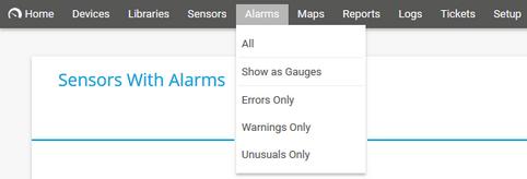 PRTG Main Menu: Alarms