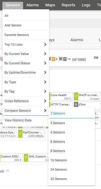 PRTG Main Menu: Compare Sensors