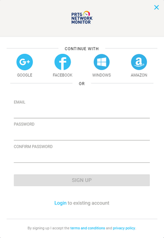 PRTG in the Cloud Signup