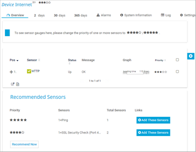 Recommended Sensors on Device Overview Tab