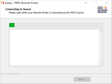 Remote Probe Setup Connecting to the PRTG Core Server