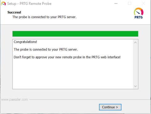 PRTG Remote Probe Successful Setup