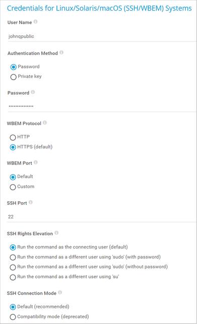 Credentials for Linux/Solaris/macOS (SSH/WBEM) Systems
