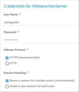 Credentials for VMware/XenServer