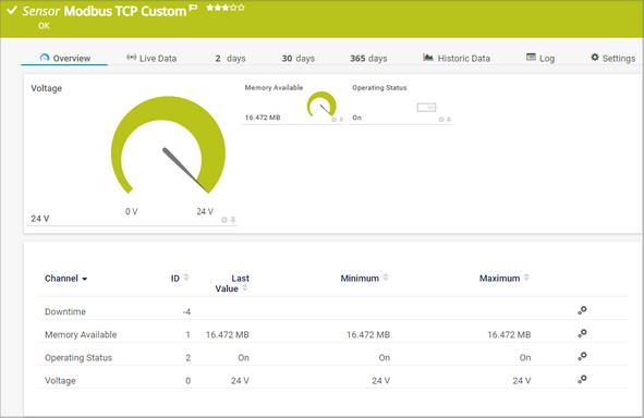 Modbus TCP Custom Sensor