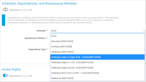 Available Default Schedules in Device Settings
