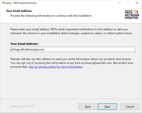 Setup Dialog: Your Email Address