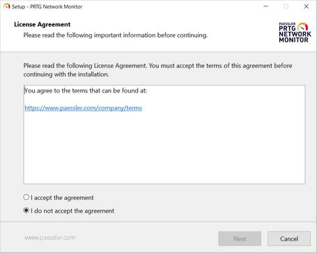 Setup Dialog: License Agreement