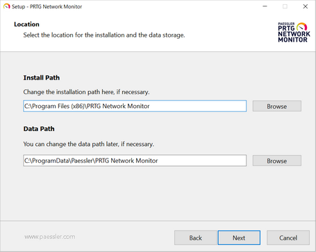 Setup Dialog: Location for Installation and Data Storage