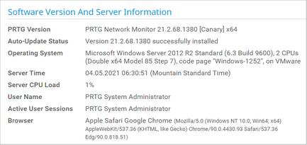 Software Version and Server Information