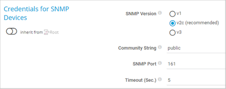 Credentials for SNMP Devices