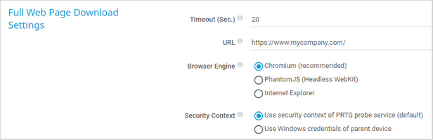 Full Web Page Download Settings