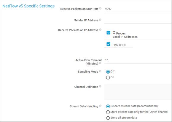 NetFlow v5 Specific Settings