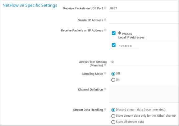 NetFlow v9 Specific Settings