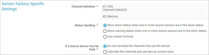 Sensor Factory Specific Settings