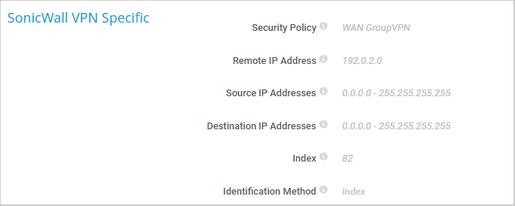 SonicWall VPN Specific