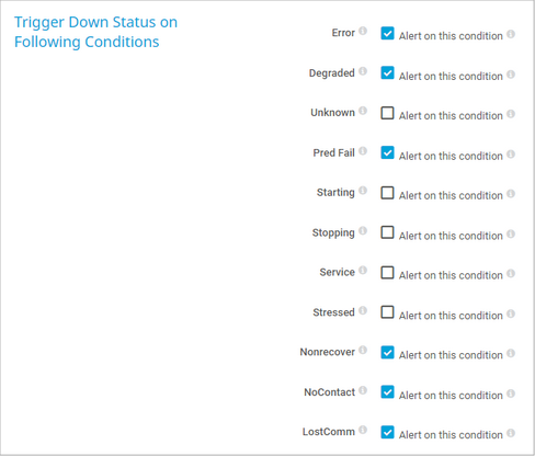 Trigger Down Status on Following Conditions